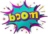 Comic poster: speech bubbles, burst, boom text and sound effect. Colorful funny banner in comics book and pop art style. Cartoon banner with halftone effect. Vector illustration