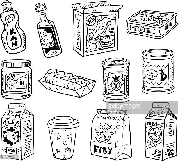 comic set kitchen packaging - breakfast cereal stock illustrations, clip art, cartoons, & icons