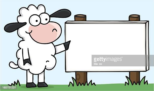 Comic Sheep pointing on blank sign