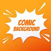 comic speech bubble burst on orange background