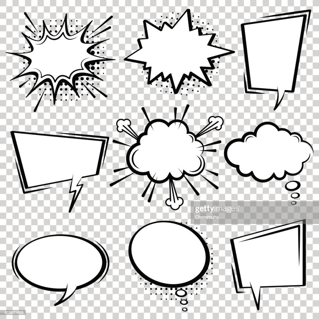 Comic speech bubble set. Black and white speech boxes.