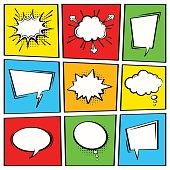 Comic speech bubble set. Empty cartoon vector speech box collection.