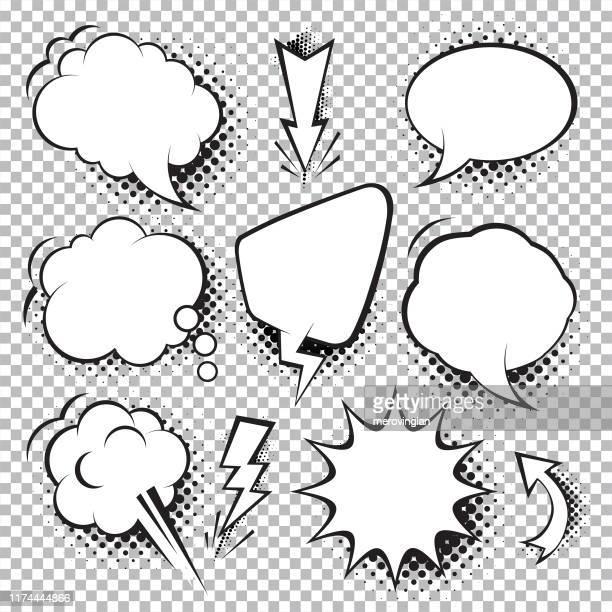 illustrations, cliparts, dessins animés et icônes de ensemble de bulle de discours comique. style pop art - bulle bd