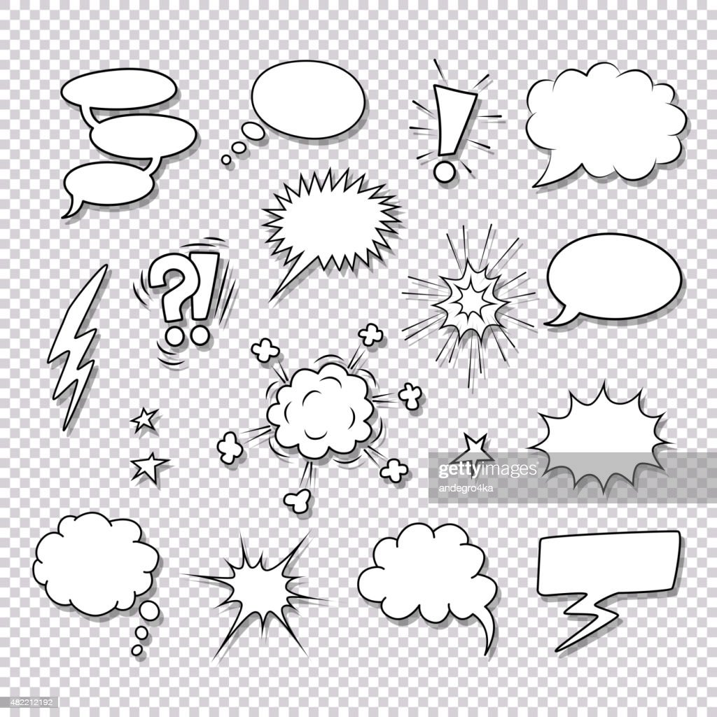 Comic speech bubbles and elements vector set