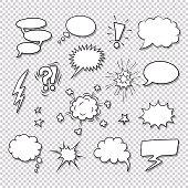 Comic speech bubbles and elements vector set