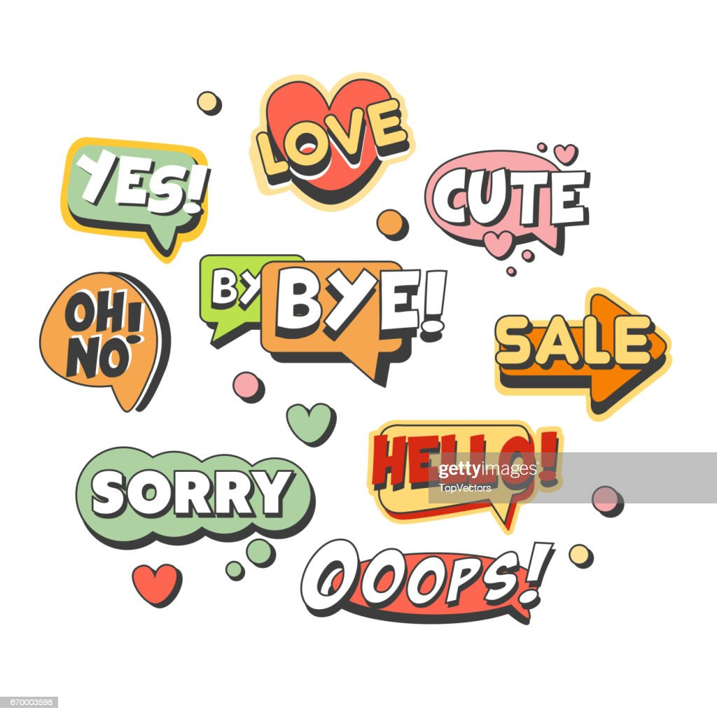 comic speech bubbles for different emotions and sound effects set