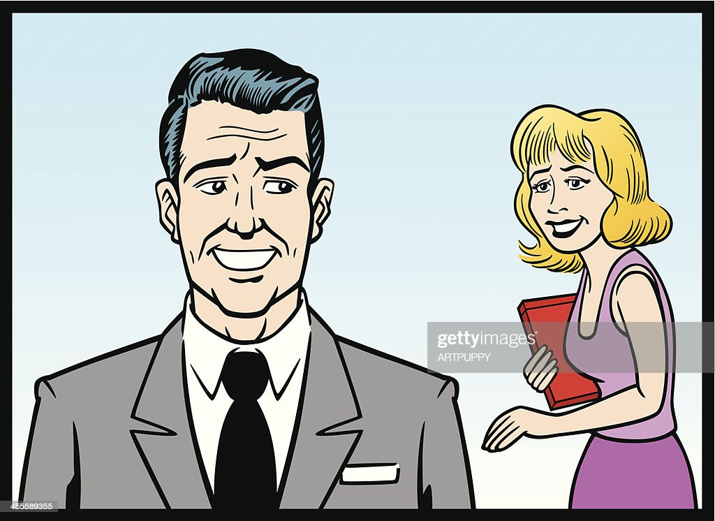 Comic Strip Business Man And Woman : stock illustration