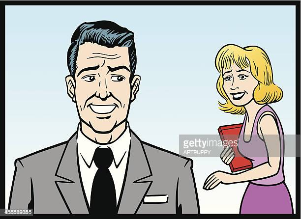 Comic Strip Business Man And Woman