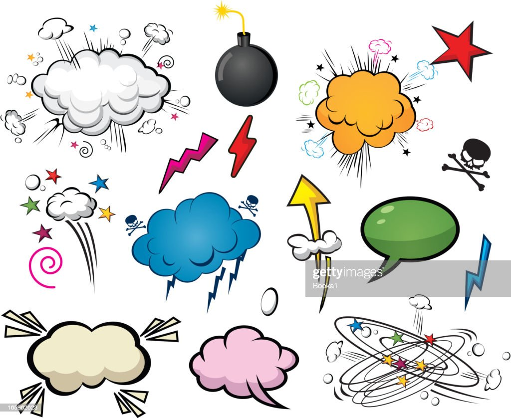 Comic style cloud and speech bubbles