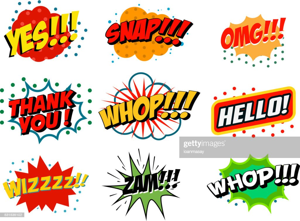 Comic style phrases isolated on white background.