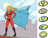Comic style superhero with sign templates