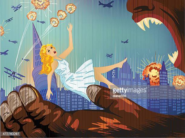 comic style woman falling into a giant gorilla's hand - cartoon characters with big teeth stock illustrations