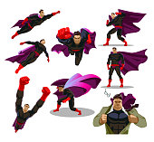Comic superhero actions in different poses. Male super hero vector cartoon characters. Set or collection of heroic cartoon character.