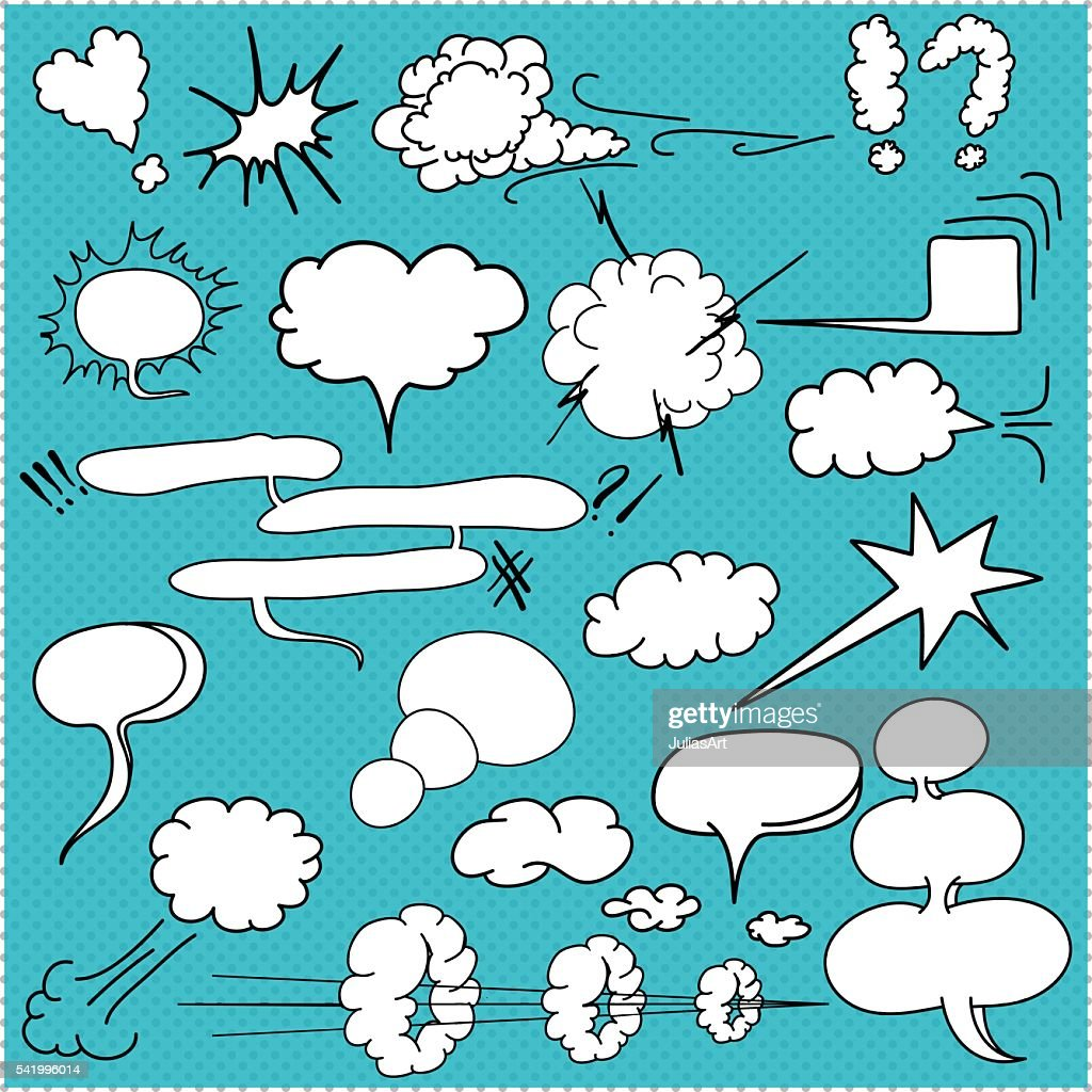 Comic  text clouds, pop art style, hand drawn, vector