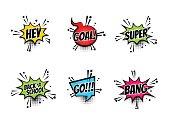 Comic text speech bubble pop art set