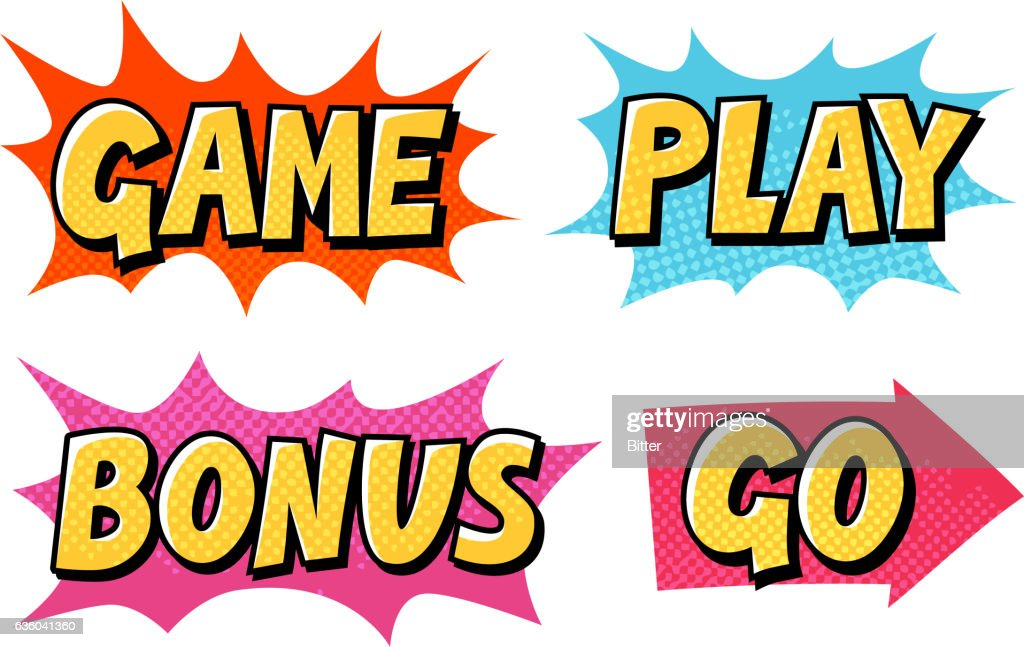 Comic text vector icons. Lettering such as Game, Play, Go