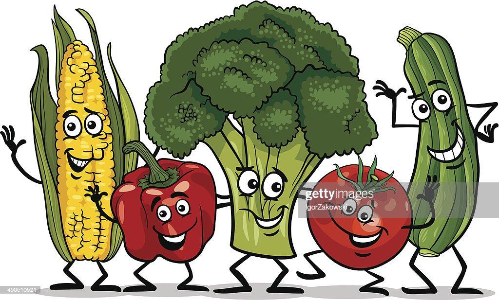 comic vegetables group cartoon illustration
