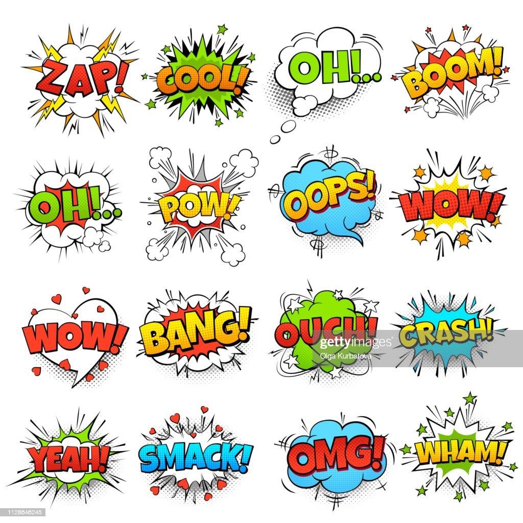 Comic words. Cartoon speech bubble with zap pow wtf boom text. Comics pop art balloons vector set