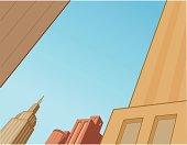 Comics City Skyline Scene For Flying Superheroes