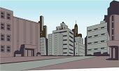 Comics City Street Scene Background