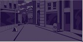 Comics Night City Street Scene