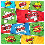 Comics page. Comic book grid frame, funny oops bam smack text speech bubbles on color stripes background vector layout template