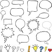 Comics-style speech bubbles / balloons isolated on white background