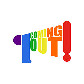 Coming out LGBT sign.  message Lesbians and gays. Rainbow megaphone. Icon social network. Symbol Recognition of belonging to sexual or gender minority.
