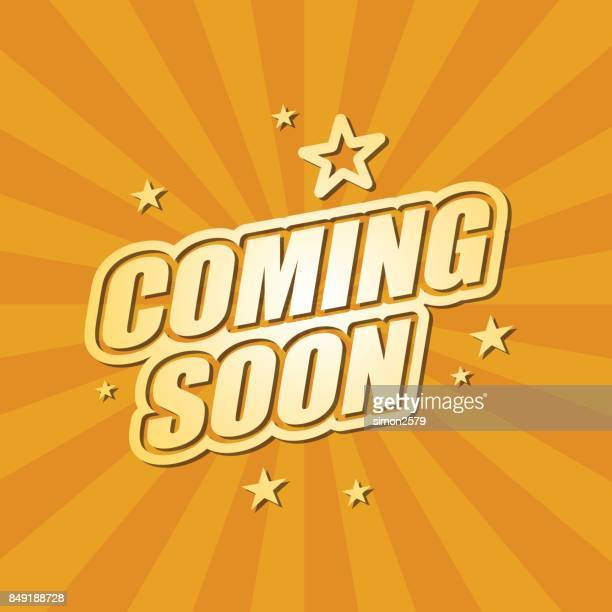 illustrazioni stock, clip art, cartoni animati e icone di tendenza di coming soon banner - premiere event