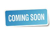 coming soon blue square sticker isolated on white