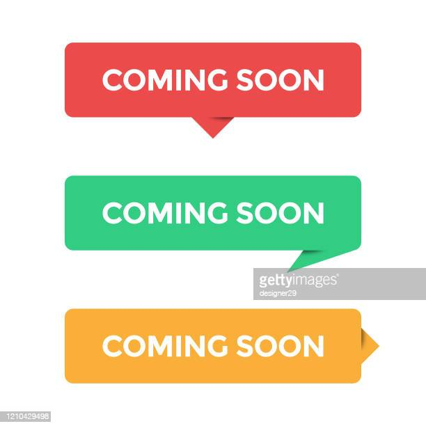 coming soon icon set and speech bubble vector design on white background. - new stock illustrations