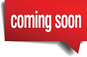 coming soon red 3d realistic paper speech bubble