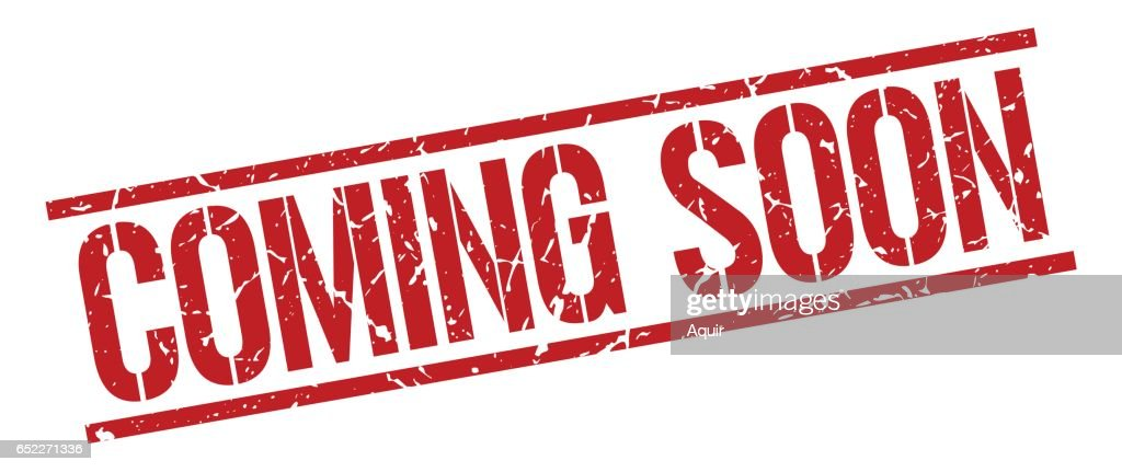 coming soon red grunge square vintage rubber stamp