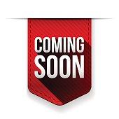 Coming Soon red ribbon vector