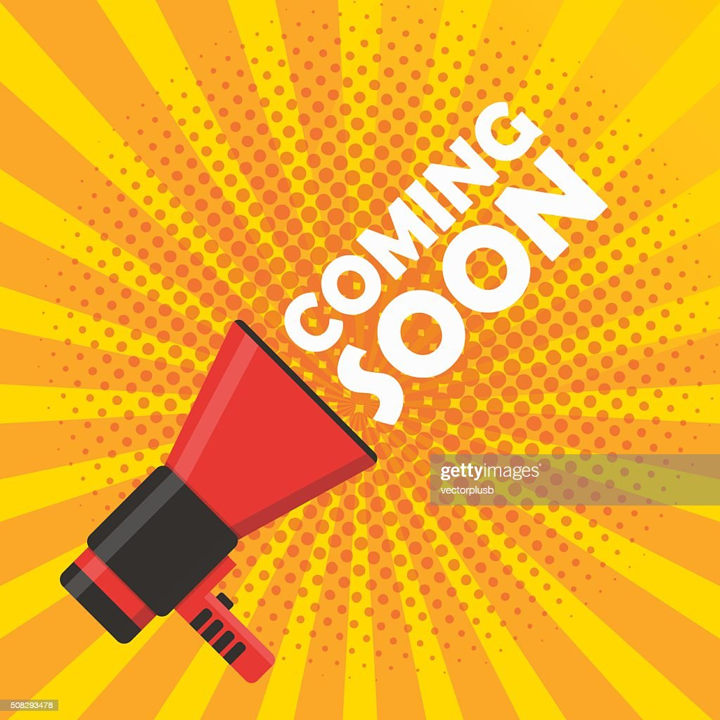 Coming soon vector banner. Announcement megaphone