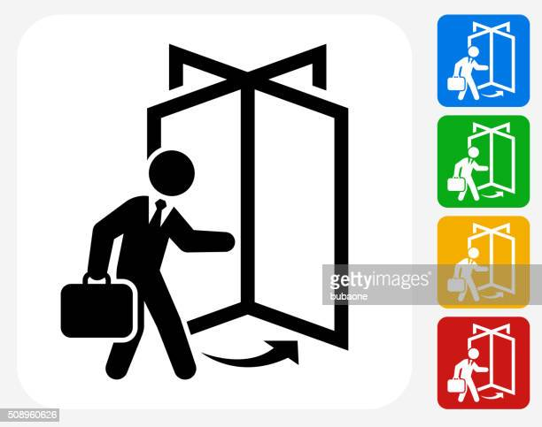 coming to work icon flat graphic design - leaving stock illustrations