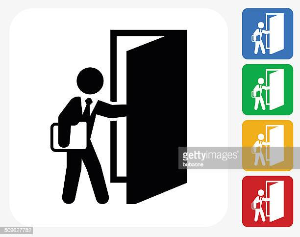 coming to work icon flat graphic design - entrance stock illustrations, clip art, cartoons, & icons