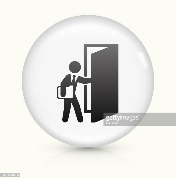 Coming to Work icon on white round vector button