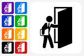Coming to Work Icon Square Button Set