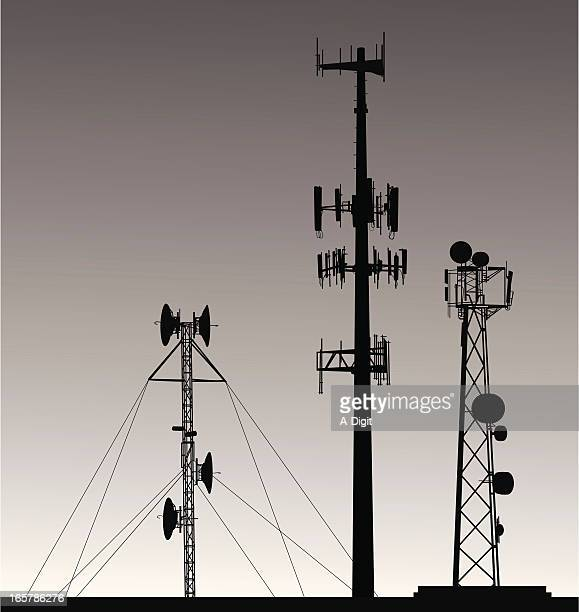 Comm Towers Vector Silhouette