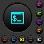 OS command terminal dark push buttons with color icons