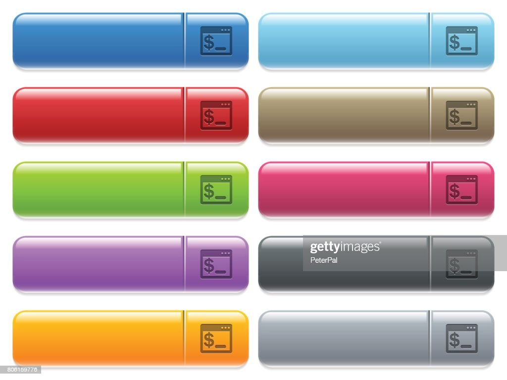 OS command terminal icons on color glossy, rectangular menu button
