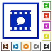 Comment movie flat framed icons