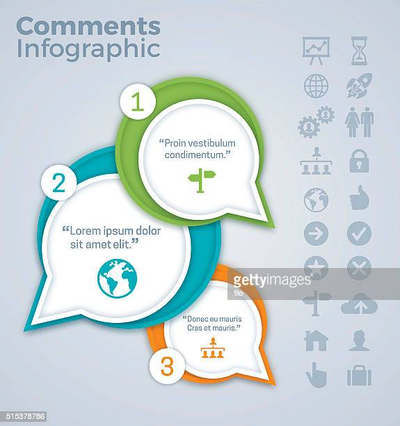 comments and quotes infographic - three objects stock illustrations