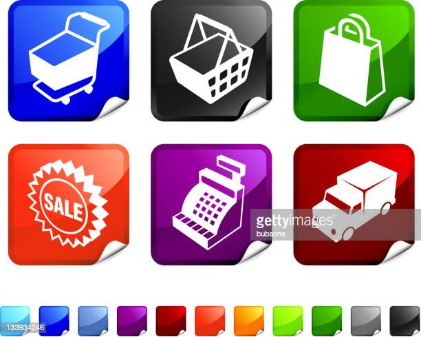 commerce 3D royalty free vector icon set stickers