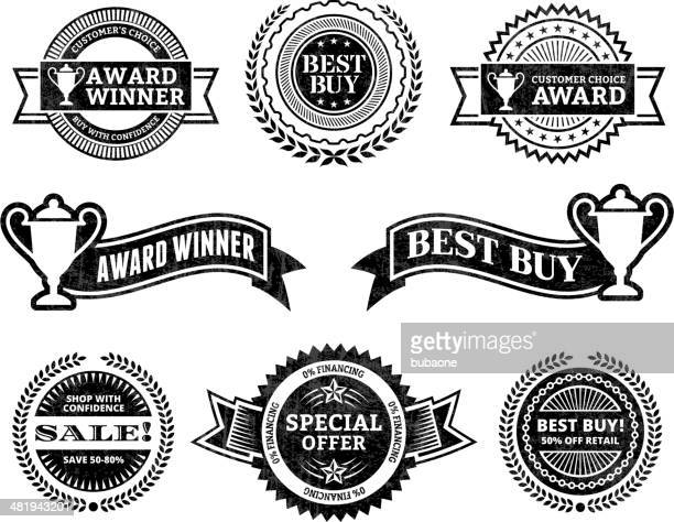 commerce best buy award winner black & white icon set - great seal stock illustrations, clip art, cartoons, & icons