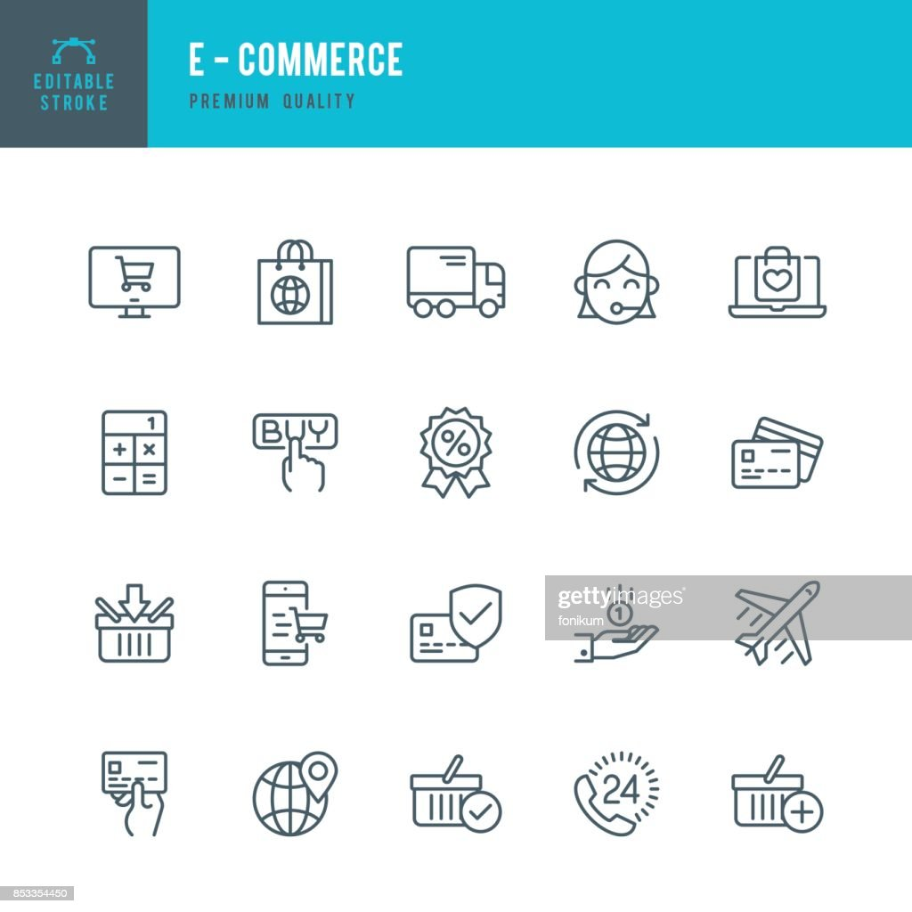 E - Commerce  - Thin Line Icon Set