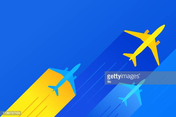 commercial air travel background - mid air stock illustrations