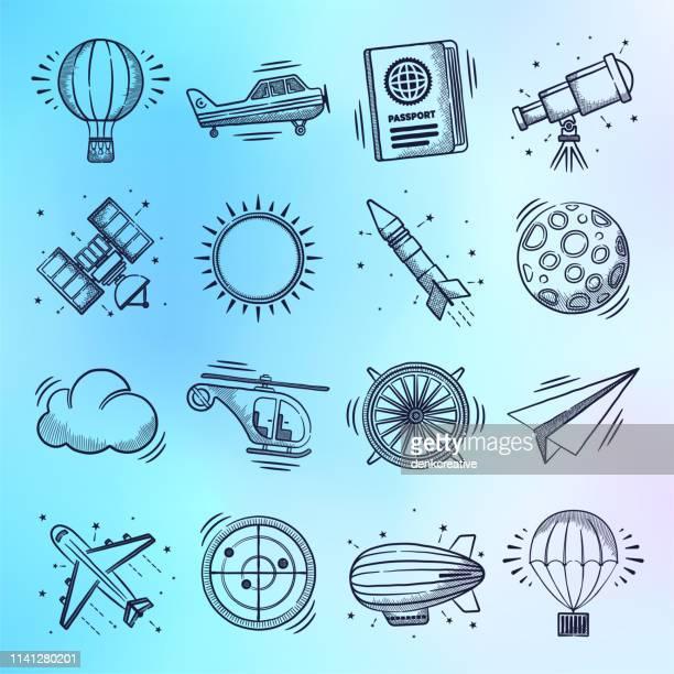 commercial airline & tourism demand doodle style vector icon set - abschied stock-grafiken, -clipart, -cartoons und -symbole