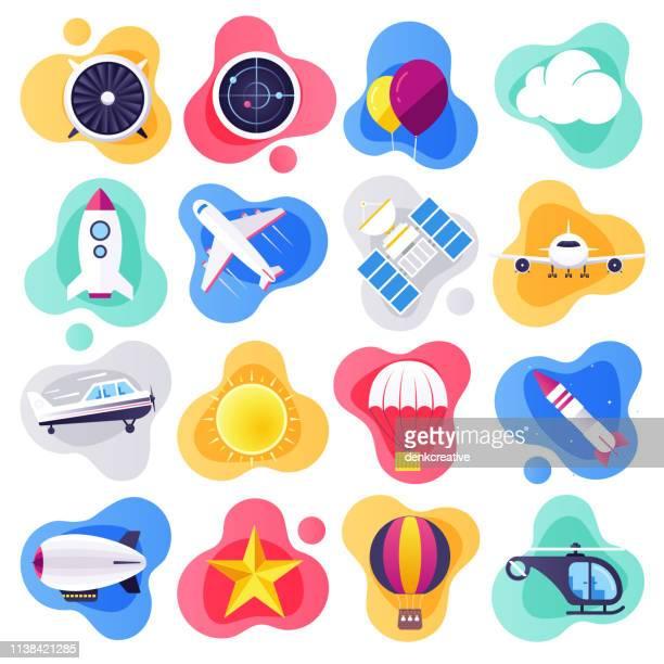 illustrations, cliparts, dessins animés et icônes de commercial airline voyage plat liquide style vector icon set - avion